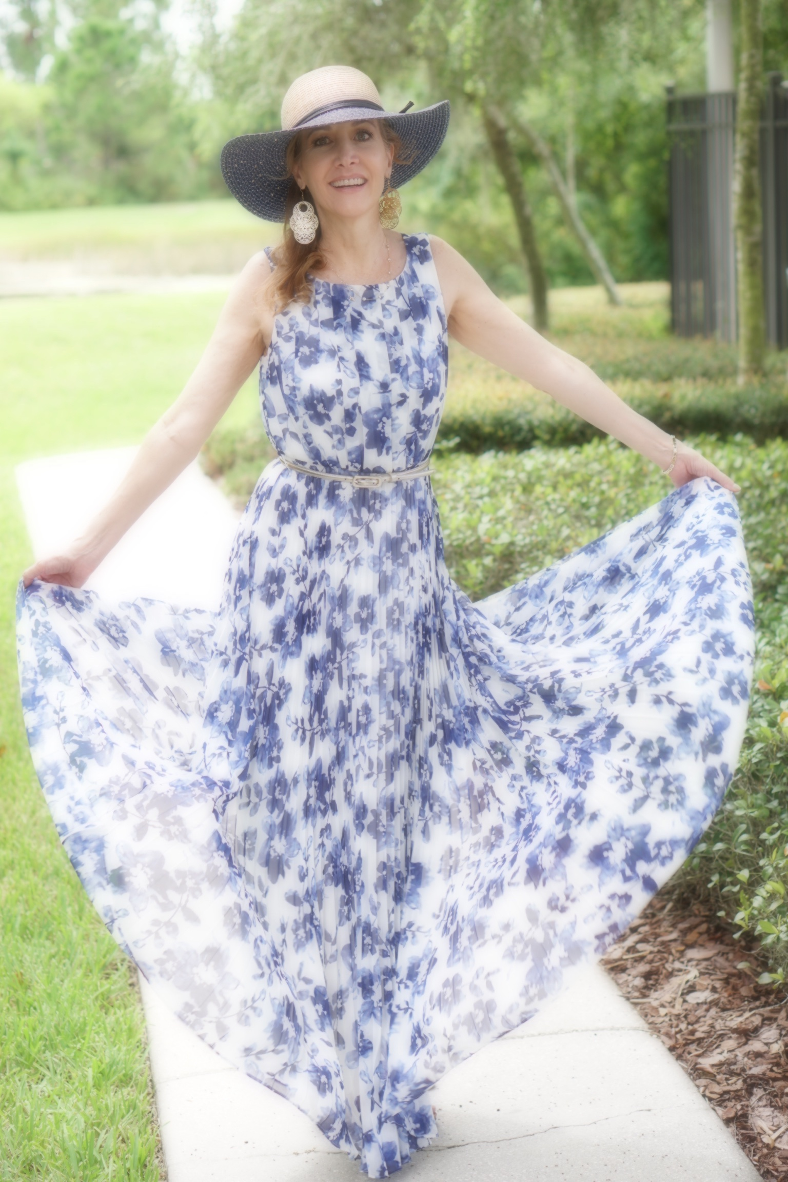 Blue and white floral maxi dress