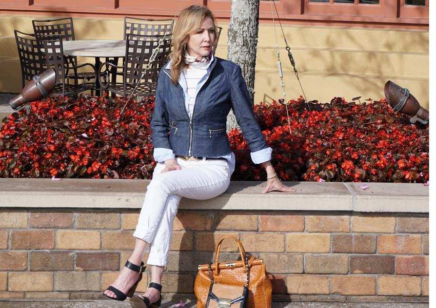 Sharingajourney style jean jacket and white pants