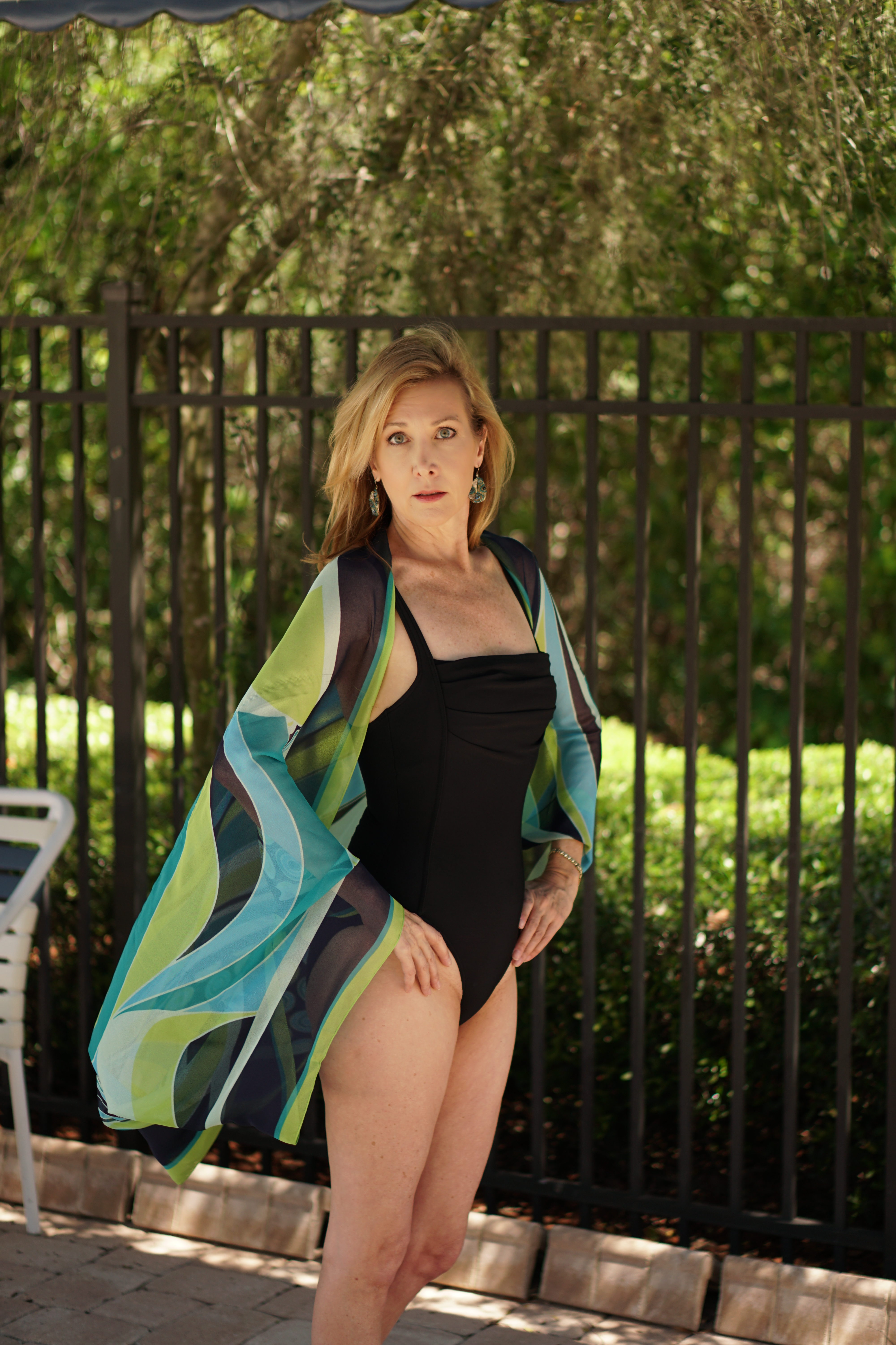 Black Swim Suite turquoise silk coverup