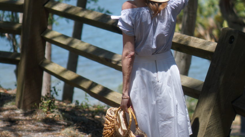 Woman in White hat at Philippe Park, Safety Harbor Florida