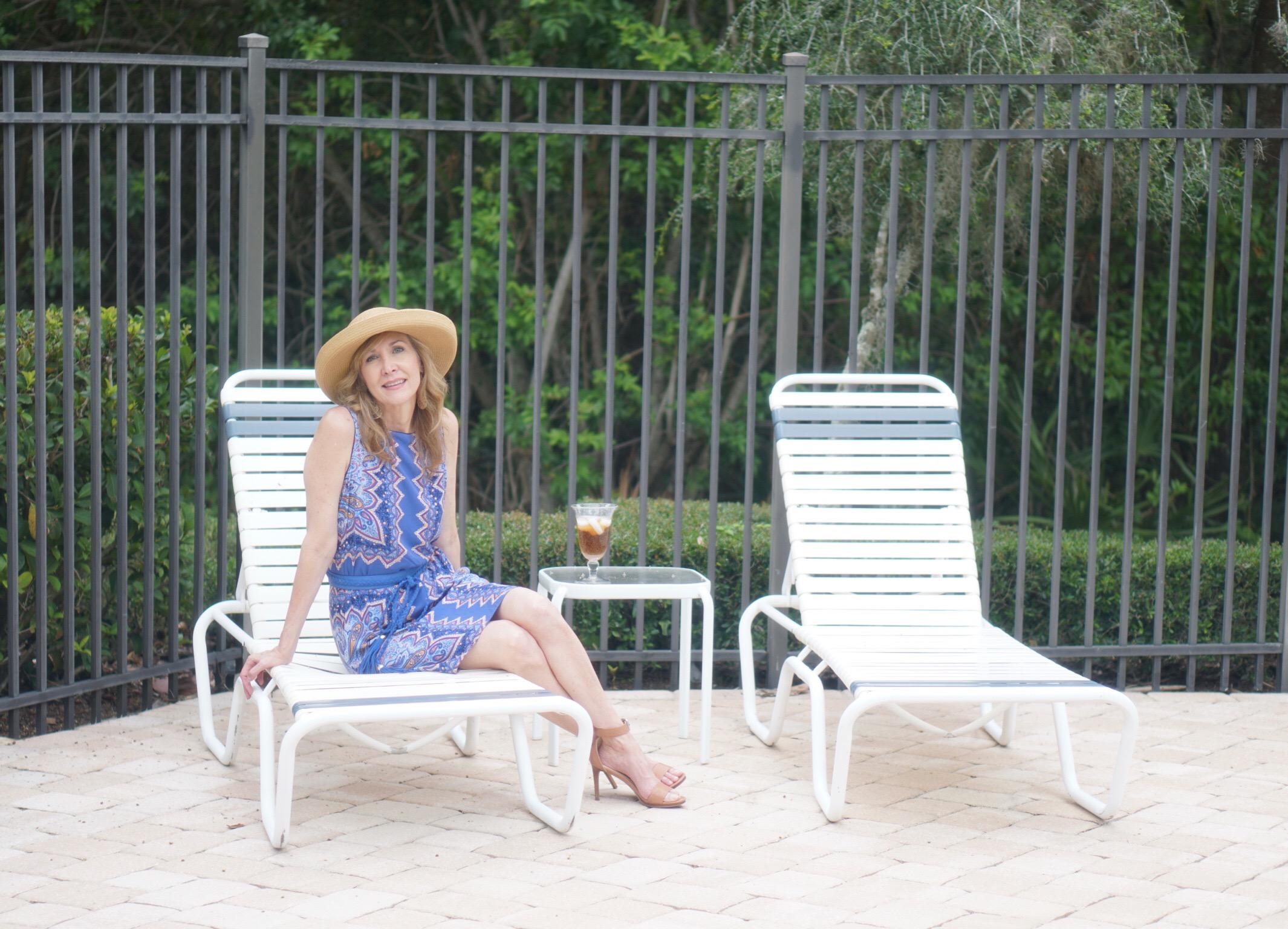 J.Jill summer essentials, a blue mosaic dress is great poolside