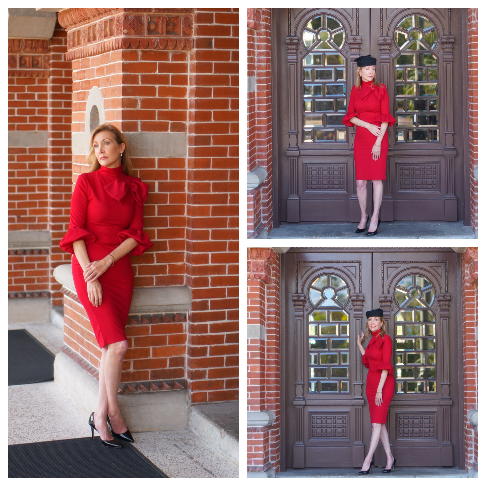 photo collage woman in red dress, three poses
