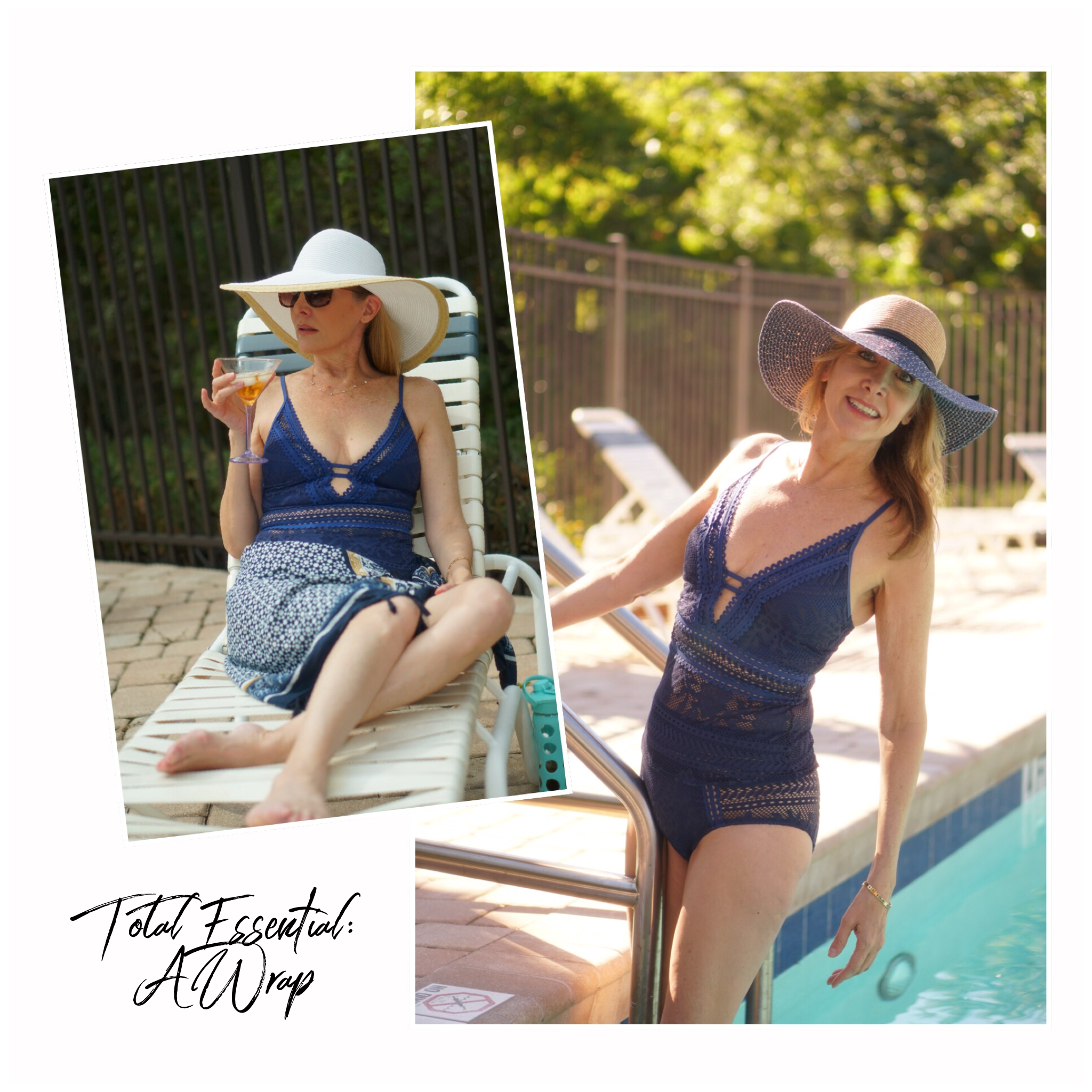 Woman in blue swimsuit and hat