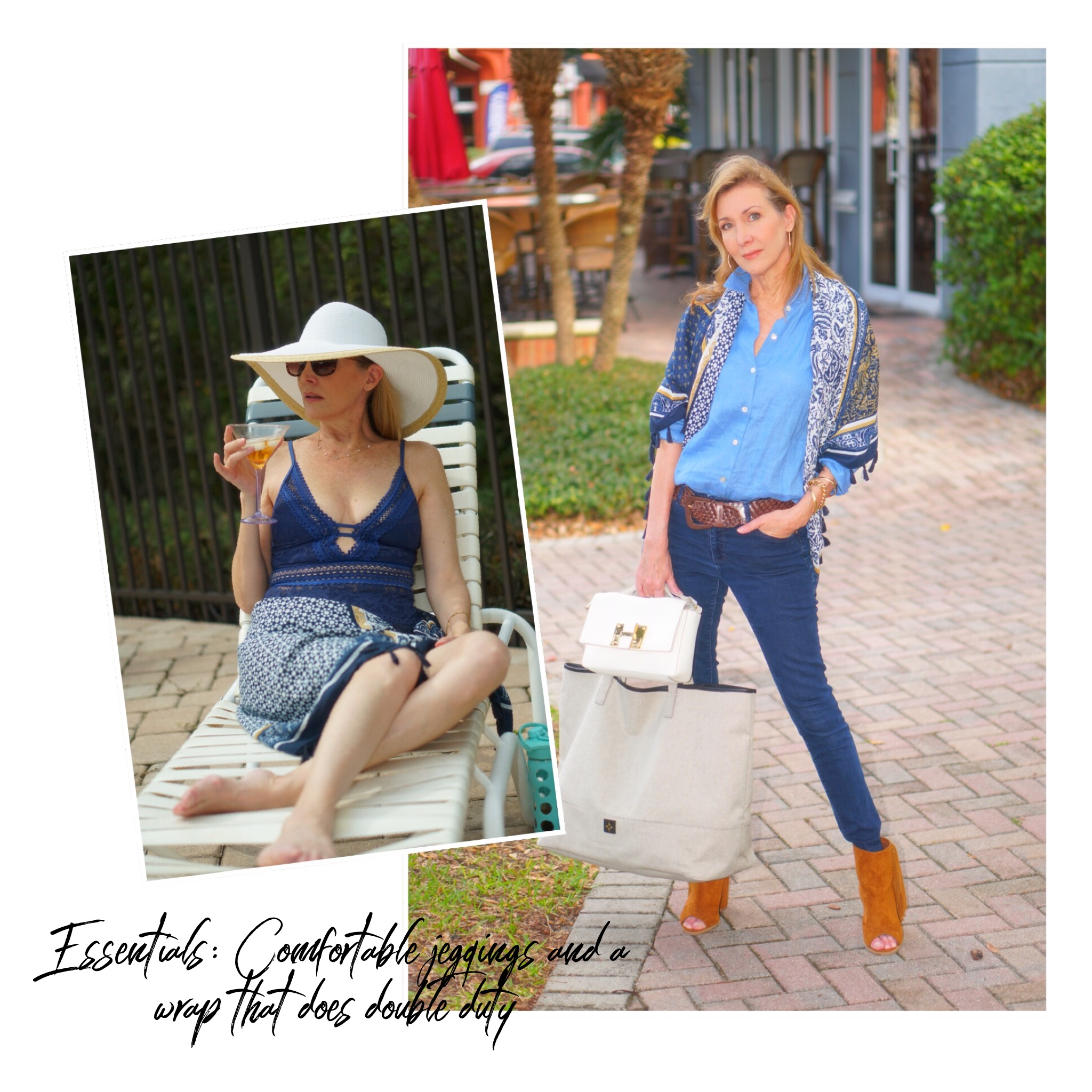 Collage: wearing jeans and a wrap and swimsuit and wrap