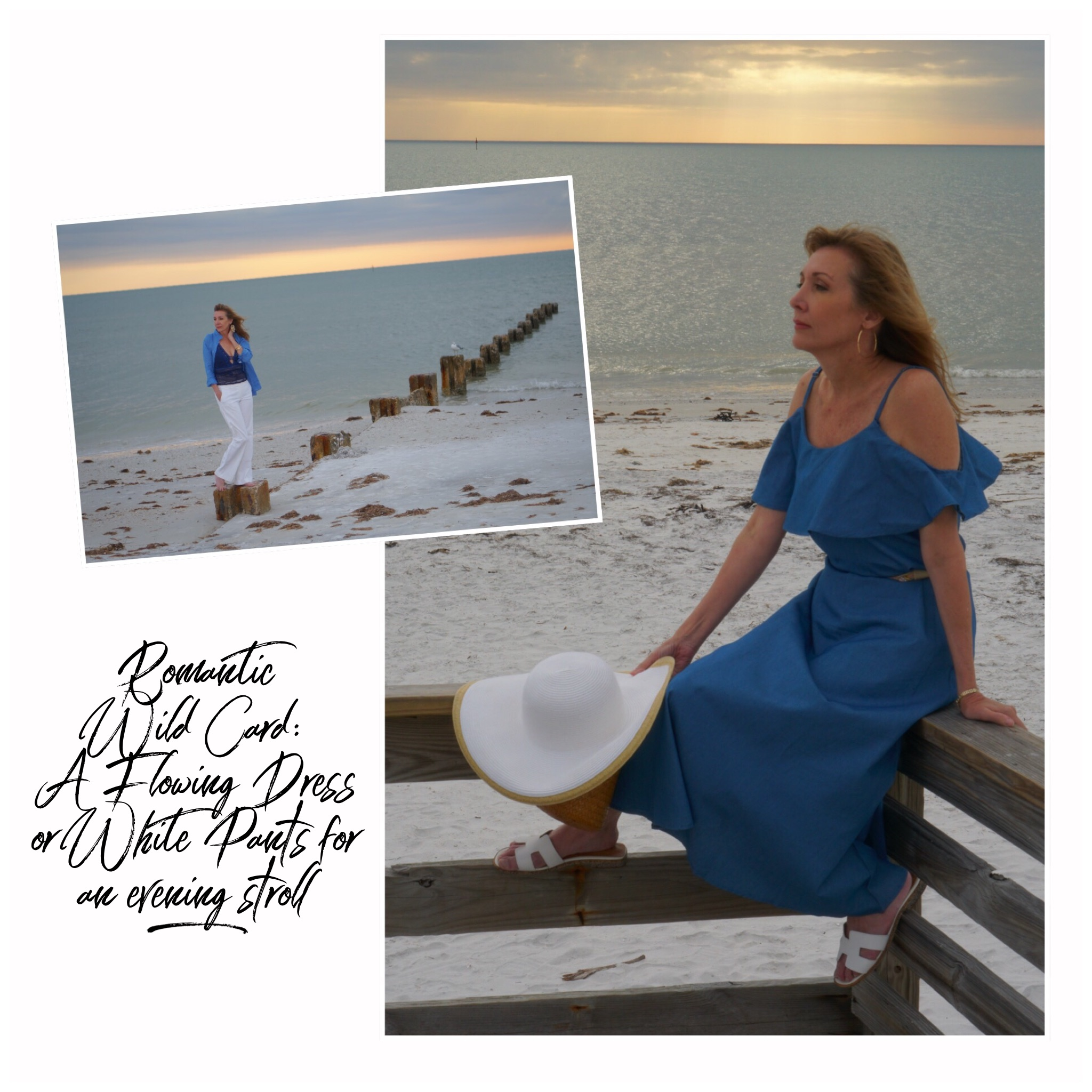 Collage: Woman in blue sun dress, woman in white pants and blue shirt