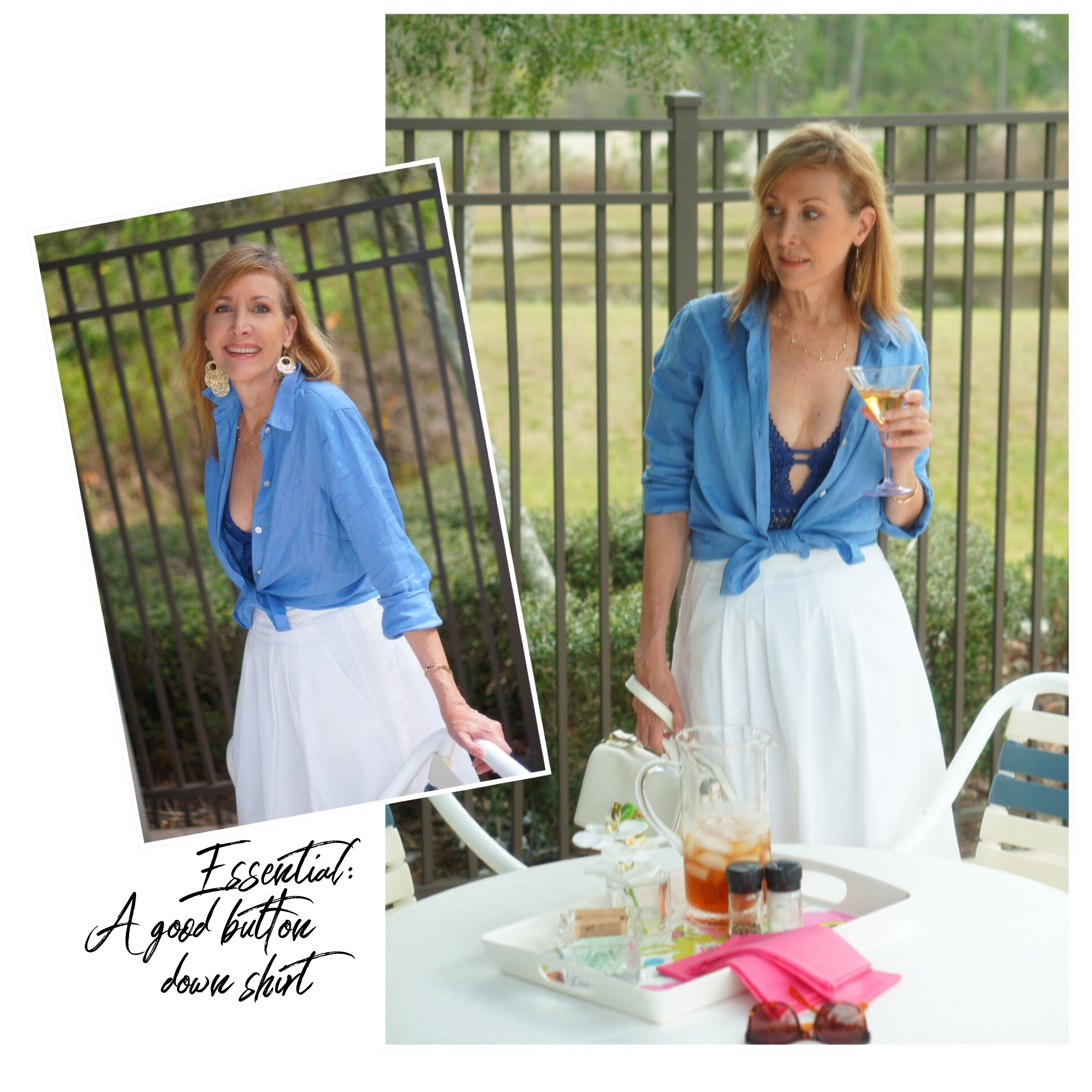 Collage blue top and white skirt