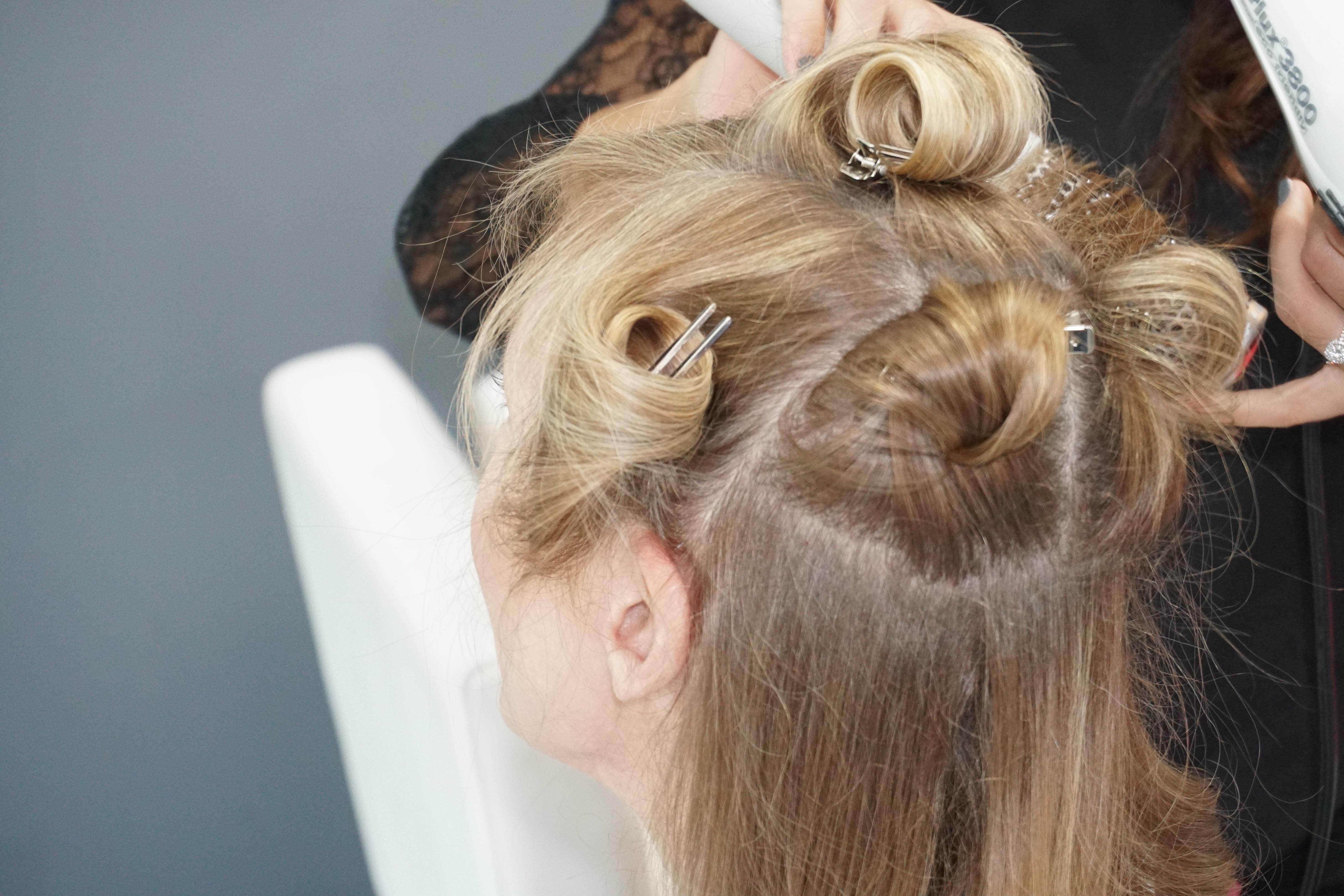 Woman's Hair in pincurls
