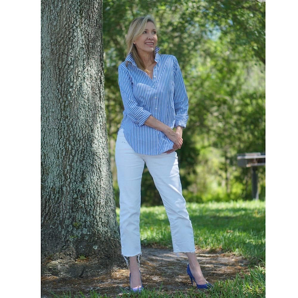 How to Wear High Rise Jeans, styling tips featured by top US over 50 fashion blog, Sharing A Journey.